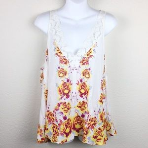 Free People intimate cream lace floral tank top